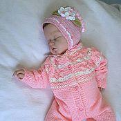 Работы для детей, handmade. Livemaster - original item Romper hat booties Pink fairy. Handmade.