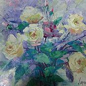 Картины и панно ручной работы. Ярмарка Мастеров - ручная работа картина маслом на холсте с розами мастихином подарок женщине. Handmade.
