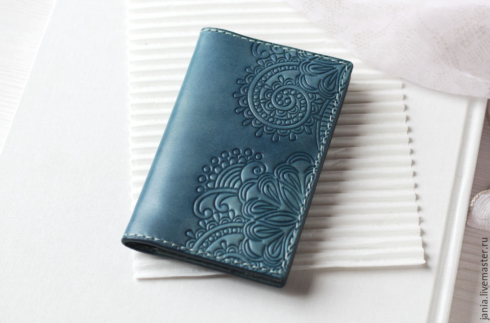 Wallet cardholders made of leather with embossed teal blue shop wallets business card holders handmade order wallet cardholders made of leather with embossed reheart Images