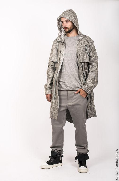 Верхняя одежда ручной работы. Ярмарка Мастеров - ручная работа. Купить куртка мужская. Handmade. Серый, ветровка, лен, красота
