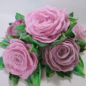 Цветы и флористика handmade. Livemaster - original item The flowers are felted wool roses bouquet from felt. Handmade.