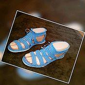 Обувь ручной работы handmade. Livemaster - original item knitted sandals. Knitted footwear to order. the color is blue.. Handmade.