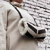 Аксессуары handmade. Livemaster - original item Clutch Hand Bag made of suede and sheepskin fur Cream Chocolate. Handmade.
