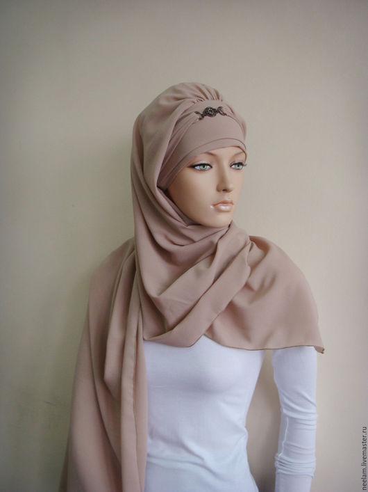"""Этническая одежда ручной работы. Ярмарка Мастеров - ручная работа. Купить Тюрбан-хиджаб """"элеганстность"""" бежевый. Handmade. Голубой"""