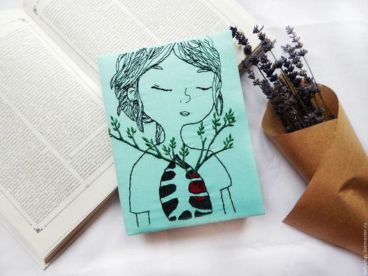 Блокноты ручной работы. Ярмарка Мастеров - ручная работа. Купить Девушка с цветами. Handmade. Голубой, блокнот ручной работы