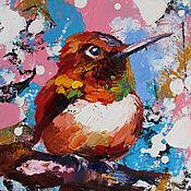 Картины и панно handmade. Livemaster - original item Oil painting with a hummingbird