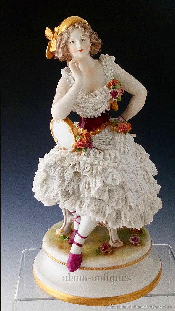 Винтаж: Старинная статуэтка в кружеве Германия 1900-е, Предметы интерьера винтажные, Москва,  Фото №1