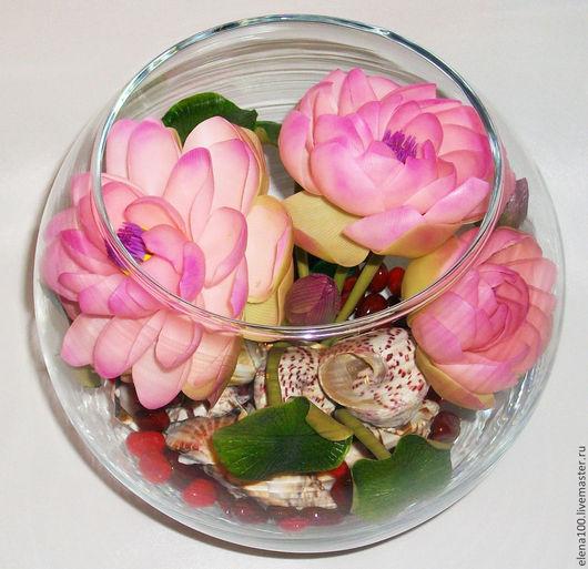 Цветы ручной работы. Ярмарка Мастеров - ручная работа. Купить Лотос - моя кеамическая флористика. Handmade. Розовый, для дома, композиция