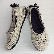 Обувь ручной работы. Ярмарка Мастеров - ручная работа Балетки вязаные Helen, лен, серый, р.37.5-38. Handmade.