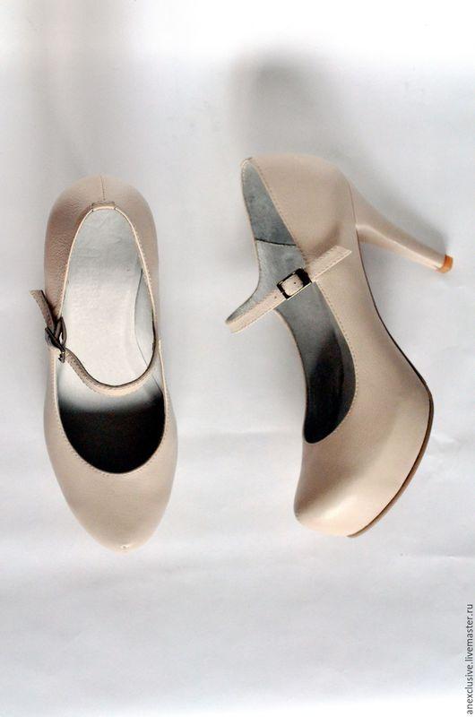 Обувь ручной работы. Ярмарка Мастеров - ручная работа. Купить Туфли с ремешком. Handmade. Бежевый, туфли ручной работы