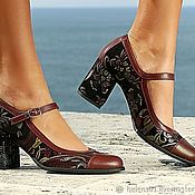 Обувь ручной работы handmade. Livemaster - original item Women`s leather shoes with floral print. Handmade.