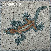 "Дизайн и реклама handmade. Livemaster - original item Mosaic ""Lizard"", marble, 20х20 cm. Handmade."
