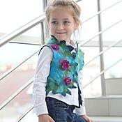 """Работы для детей, ручной работы. Ярмарка Мастеров - ручная работа Жилет валяный для девочек """"purple azalea"""". Handmade."""