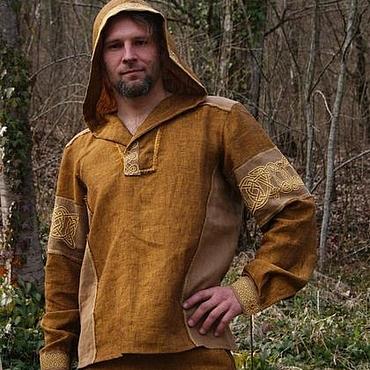 Одежда ручной работы. Ярмарка Мастеров - ручная работа Рубашка из льна с капюшоном с кельтской вязью Сигурд. Handmade.