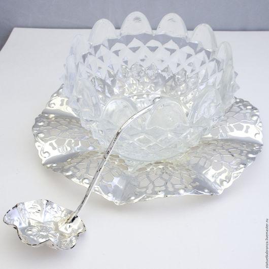 Винтажная посуда. Ярмарка Мастеров - ручная работа. Купить Сахарница икорница стекло серебрение. Handmade. Винтаж, ложечка