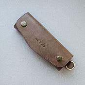 Сумки и аксессуары handmade. Livemaster - original item Key holder beige buttons made of genuine leather. Handmade.