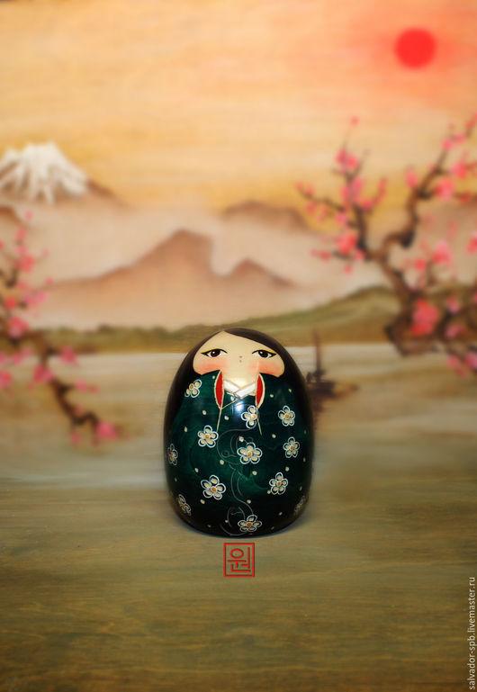 Коллекционные куклы ручной работы. Ярмарка Мастеров - ручная работа. Купить Японская кукла kokeshi в зеленом кимоно. Handmade. кукла