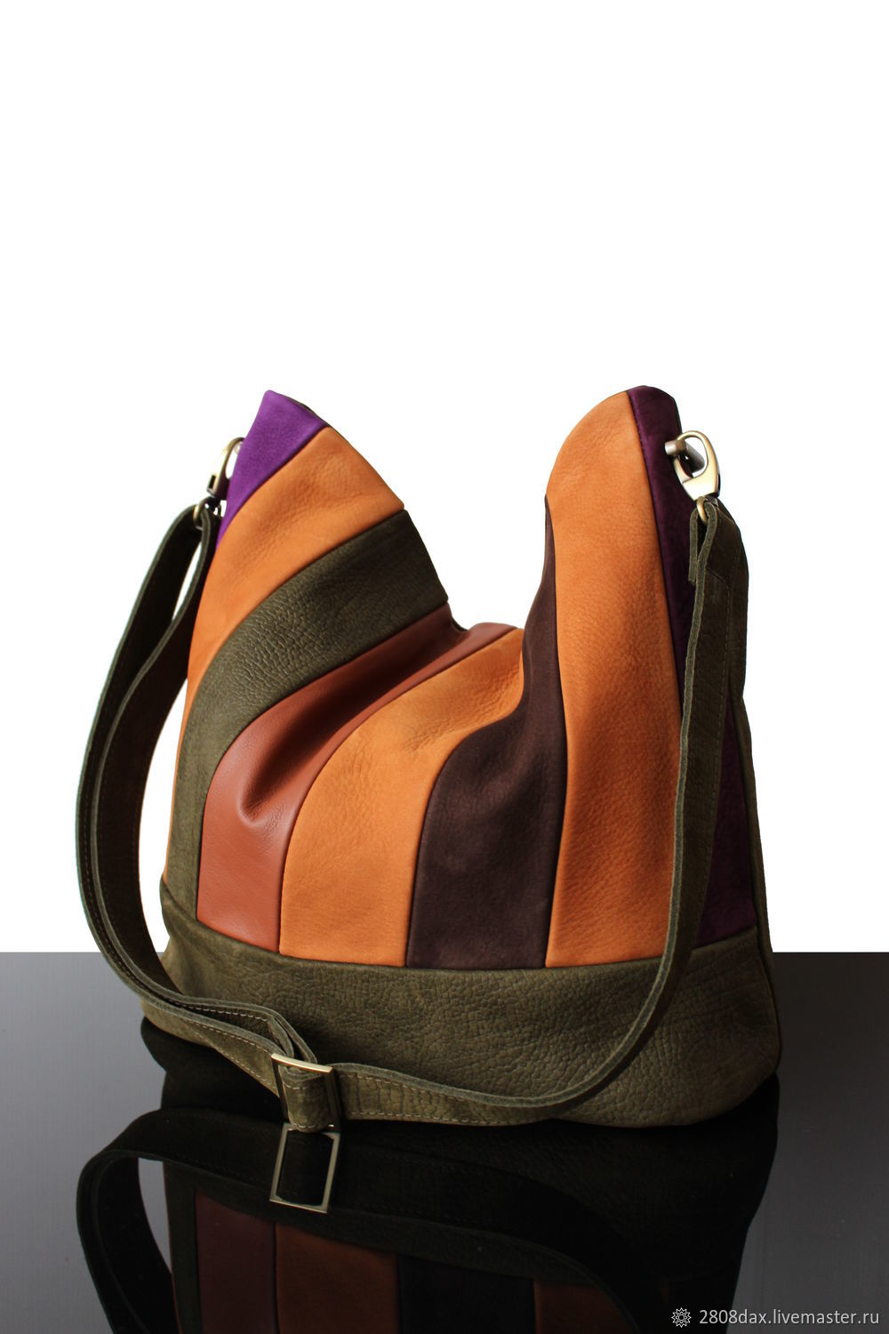 Bag-bag made of genuine leather and suede Olive red Patchwork, Sacks, Bordeaux,  Фото №1