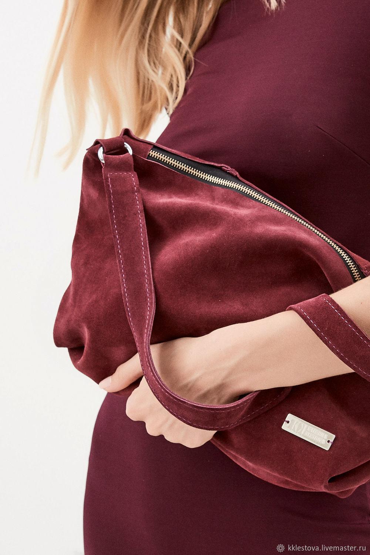 Handbags handmade. Livemaster - handmade. Buy Soft Burgundy bag with shoulder strap made of suede.Leather, crossbody