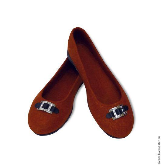 """Обувь ручной работы. Ярмарка Мастеров - ручная работа. Купить Туфли-балетки """"Рыжая бестия"""" шерсть шелк. Handmade. Рыжий"""