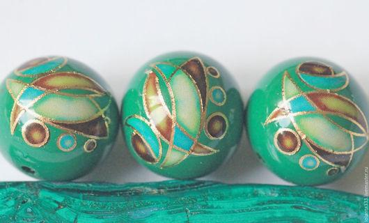 Для украшений ручной работы. Ярмарка Мастеров - ручная работа. Купить Бусины ручной работы Tensha (Япония) 14 мм - зелёные, золотистые. Handmade.