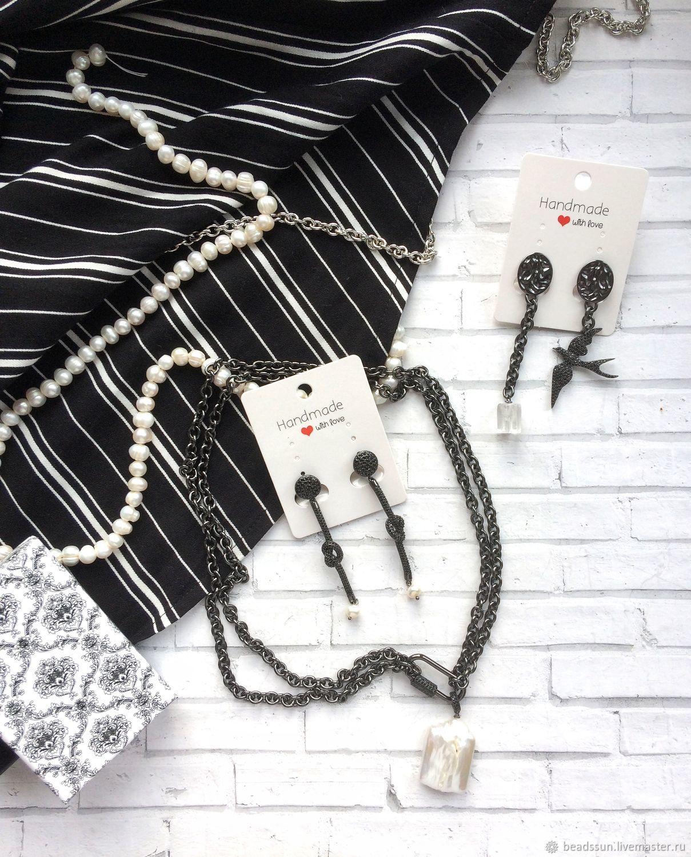 Узелки с жемчугом и цирконами, Серьги-пусеты, Шадринск,  Фото №1