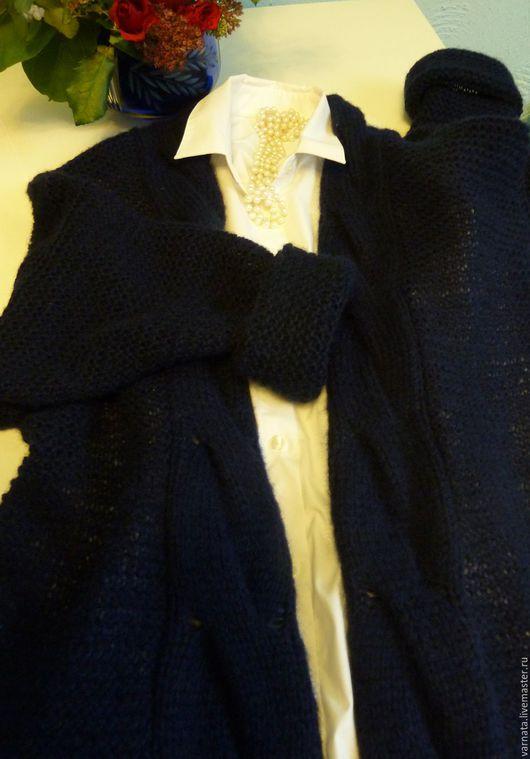 """Кофты и свитера ручной работы. Ярмарка Мастеров - ручная работа. Купить Кардиган """"Нежность"""". Handmade. Тёмно-синий, кардиган легкий"""