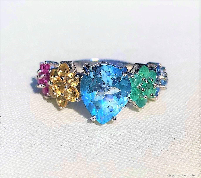 Ring ' Watercolor'. Natural Topaz, rubies, sapphires (18,5), Rings, Korolev,  Фото №1