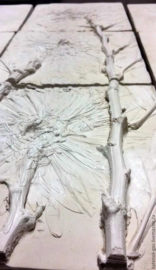 Картины цветов ручной работы. Ярмарка Мастеров - ручная работа. Купить Объемное панно. Триптих. Оттиск цветов хризантемы. Handmade.