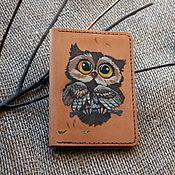 Сумки и аксессуары handmade. Livemaster - original item Leather passport cover with Owl pattern. Handmade.