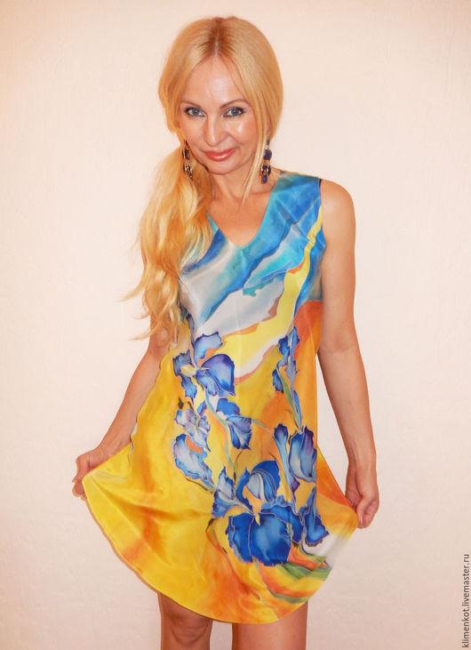 Платья ручной работы. Ярмарка Мастеров - ручная работа. Купить платье по косой короткое- Синие ирисы. Handmade. Желтый, платье