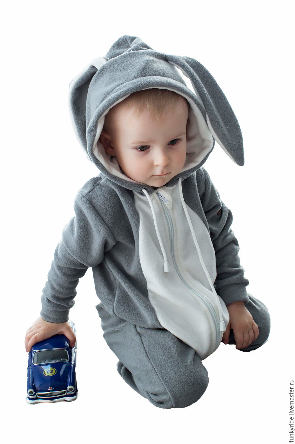 Romper baby Rabbit BUNNY Grey GRAY FUNKY HOMESUIT KIDS, Overalls for children, Magnitogorsk,  Фото №1