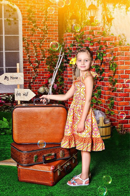 Одежда для девочек, ручной работы. Ярмарка Мастеров - ручная работа. Купить Летнее платье для девочки Оранжевое настроение.. Handmade. Рыжий