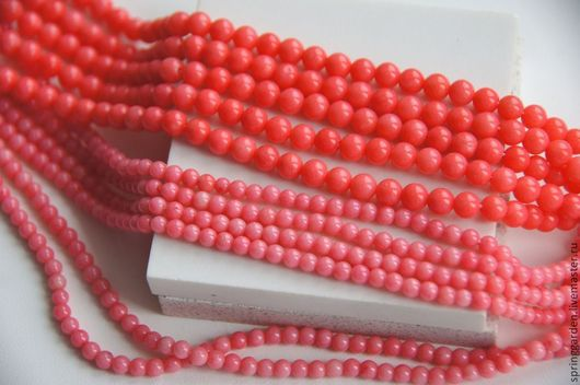 Для украшений ручной работы. Ярмарка Мастеров - ручная работа. Купить Коралл бусины розовый ФЛАМИНГО 4 мм и 5 мм, гладкий шар. Handmade.