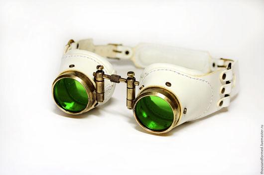 """Аксессуары ручной работы. Ярмарка Мастеров - ручная работа. Купить Стимпанк-гогглы""""Eco"""". Handmade. Белый, очки, цветное стекло, латунь"""