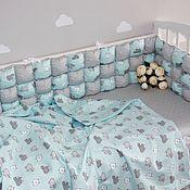 Работы для детей, handmade. Livemaster - original item Set of bumpers in a children`s bed. Handmade.