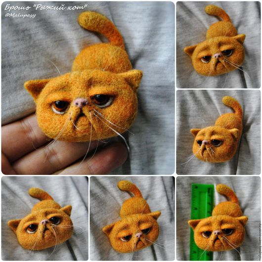 Броши ручной работы. Ярмарка Мастеров - ручная работа. Купить Валяные броши-коты, для примера. Handmade. Рыжий, подарок