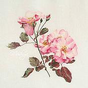 """Картины и панно handmade. Livemaster - original item Embroidered picture """"Pink wild rose"""". Handmade."""