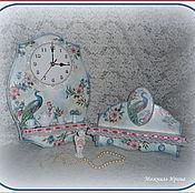 """Для дома и интерьера ручной работы. Ярмарка Мастеров - ручная работа Часы и вешалка """"Райский павлин"""" (Павлин в райском саду). Handmade."""