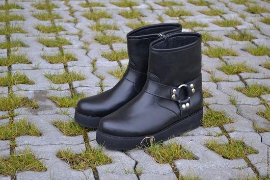 Обувь ручной работы. Ярмарка Мастеров - ручная работа. Купить Полусапожки черные на байке с молнией на платформе. Handmade. Черный, молния