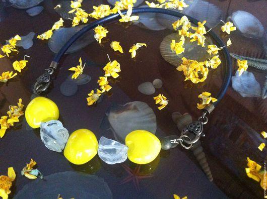 Колье, бусы ручной работы. Ярмарка Мастеров - ручная работа. Купить Одуванчик. Handmade. Желтый, кварц натуральный, колье с орехами