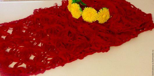 Шарфы и шарфики ручной работы. Ярмарка Мастеров - ручная работа. Купить Шарф. Handmade. Ярко-красный, 100% хлопок