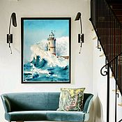 Pictures handmade. Livemaster - original item Lighthouse seascape painting with sea and storm. The picture LIGHTHOUSE. Handmade.