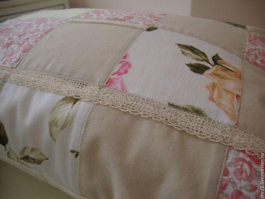 Текстиль, ковры ручной работы. Ярмарка Мастеров - ручная работа. Купить Винтажная лоскутная подушка. Handmade. Розовый, подушка, синтепон