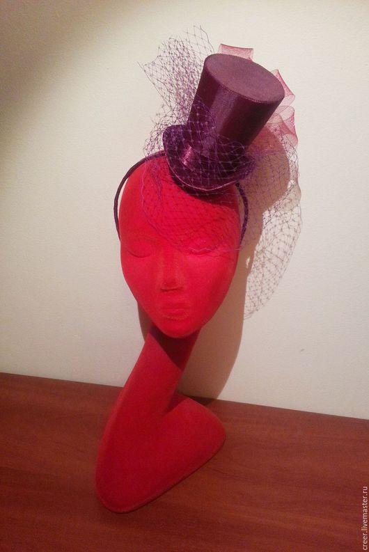 """Шляпы ручной работы. Ярмарка Мастеров - ручная работа. Купить Шляпка-цилиндр """"Бордо"""". Handmade. Шляпка, вуалетка, шляпка для девочки"""