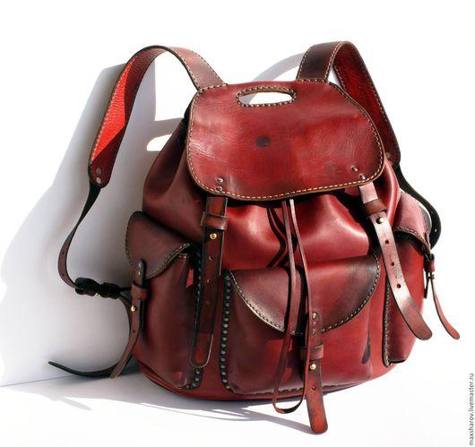Сумки для ноутбуков ручной работы. Ярмарка Мастеров - ручная работа. Купить Кожаный рюкзак ручной работы art №77 T авторская работа. Handmade.
