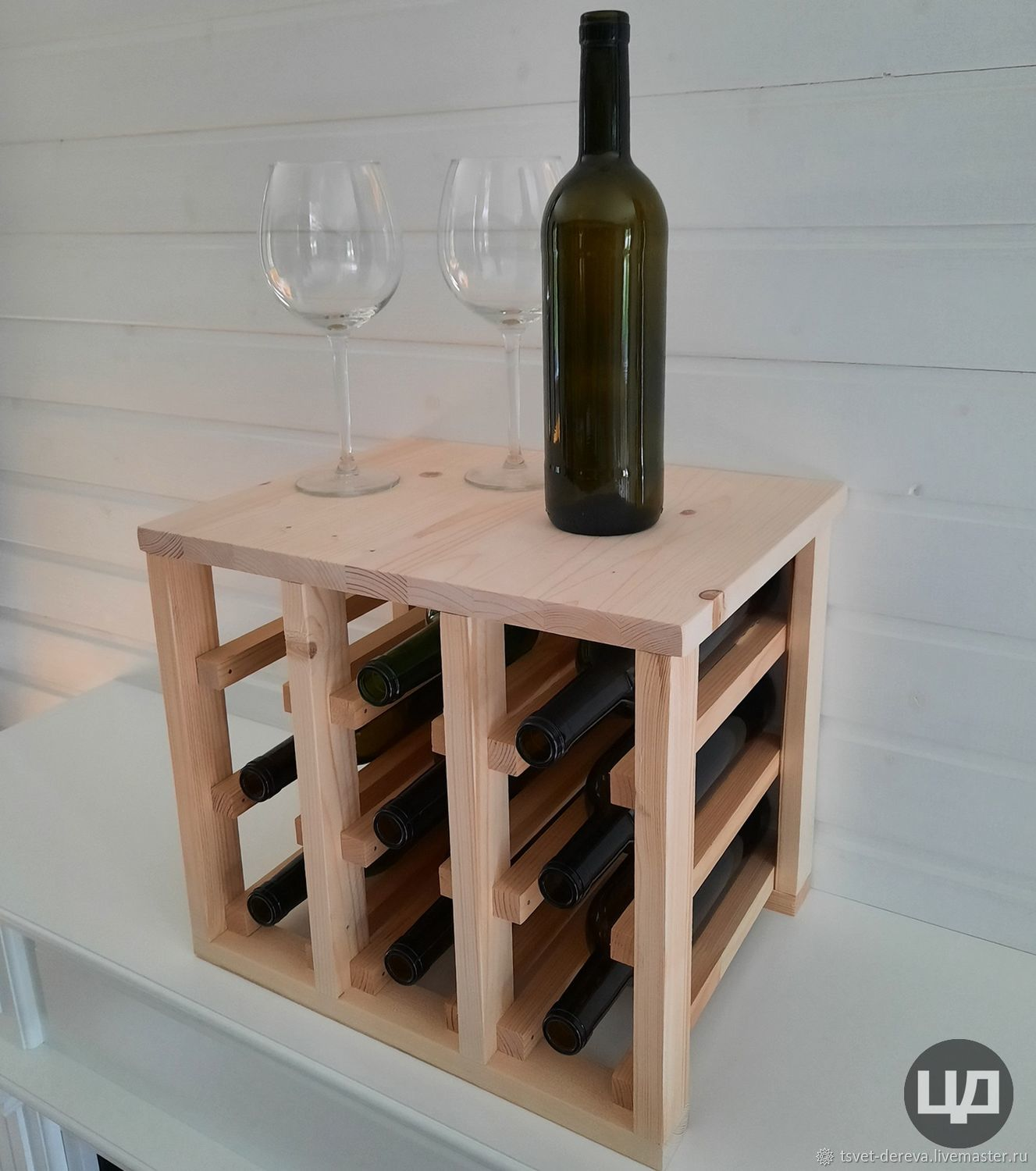 9-bottle wine holder with table top, Stand for bottles and glasses, Moscow,  Фото №1