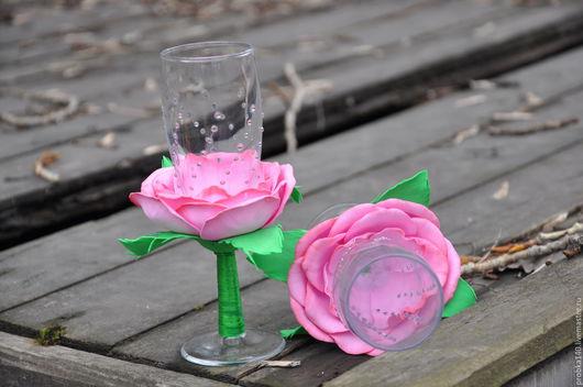 Свадебные аксессуары ручной работы. Ярмарка Мастеров - ручная работа. Купить свадебные бокалы. Handmade. Розовый, свадебный аксессуар