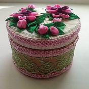 шкатулка ручной работы из атласных лент. Орхидея