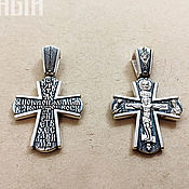 Украшения handmade. Livemaster - original item Cross with the faces of Saints and protective prayer. 925 sterling silver. Handmade.